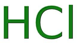 написанная зелёными буквами формула HCl