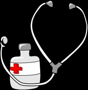Стетоскоп и бутылка лекарства