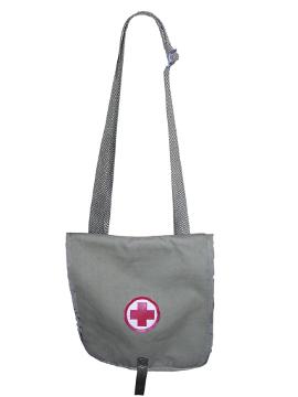 сумка под лекарства серая с красным крестом