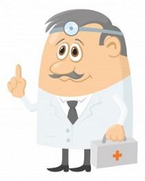 мультяшный врач с чемоданчиком