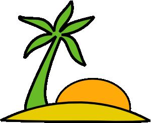 пальма и восходящее солнце символизируют курорт