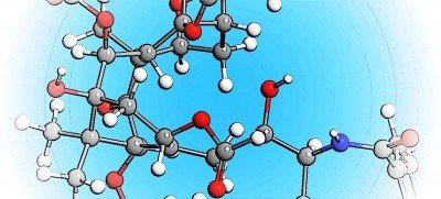 модель соединения молекул на голубом фоне