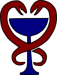 две змеи обвивают синюю чашу