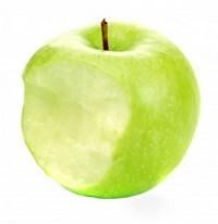 надкушенное зелёное яблоко